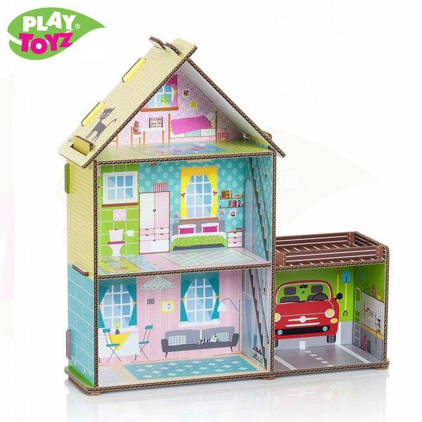 PlayToyz Картонена къща за кукли с гараж Small Mansion