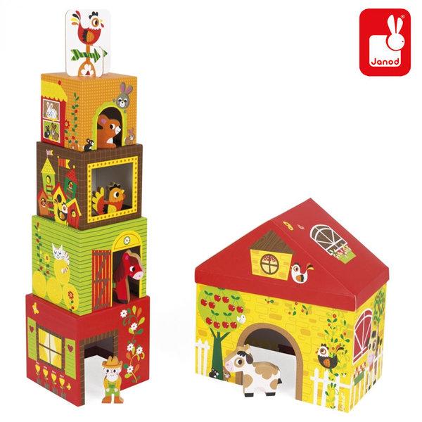 Janod Детски кубчета Ферма J02801