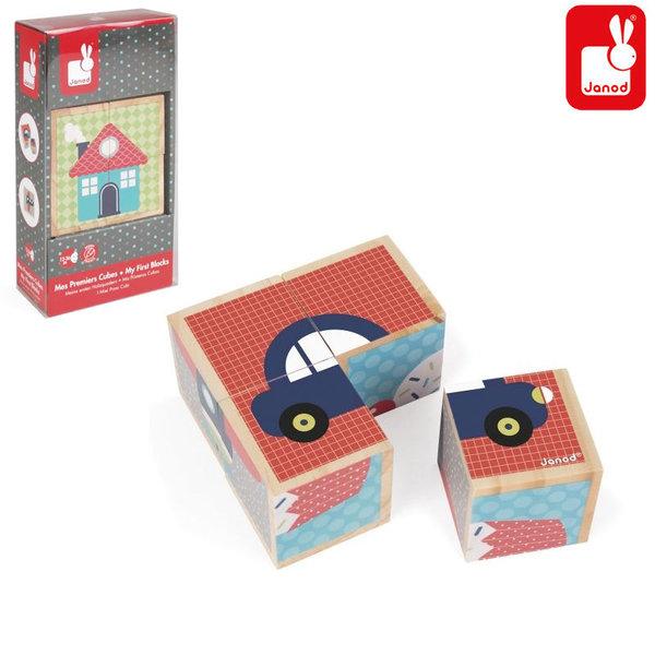 Janod Детски дървени кубчета Моите първи думи J08002