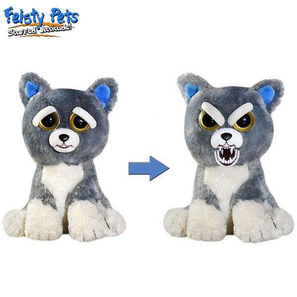 Feisty Pets Плашеща плюшена играчка Сиво куче 32296