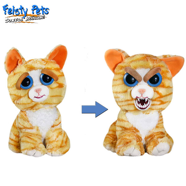 Feisty Pets Плашеща плюшена играчка Оранжева котка 32297
