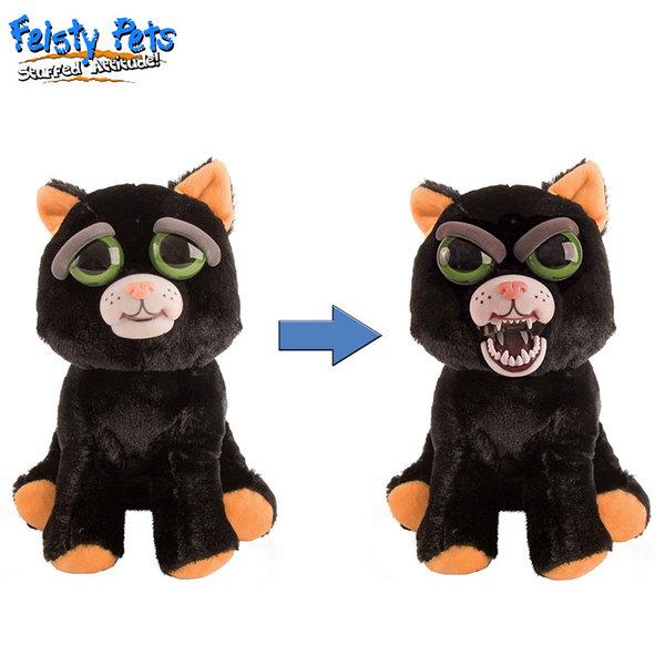 Feisty Pets Плашеща плюшена играчка Черна котка 32325