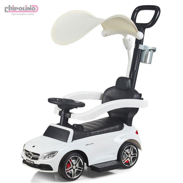 Chipolino Кола за яздене с дръжка и сенник Мерцедес AMG C63 бял