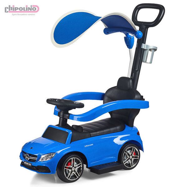 Chipolino Кола за яздене с дръжка и сенник Мерцедес AMG C63 син