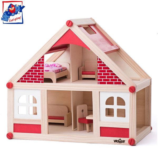 Woody Дървена куклена къща Яна 91328