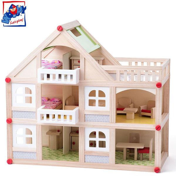 Woody Дървена три етажна куклена къща Комфорт 91329