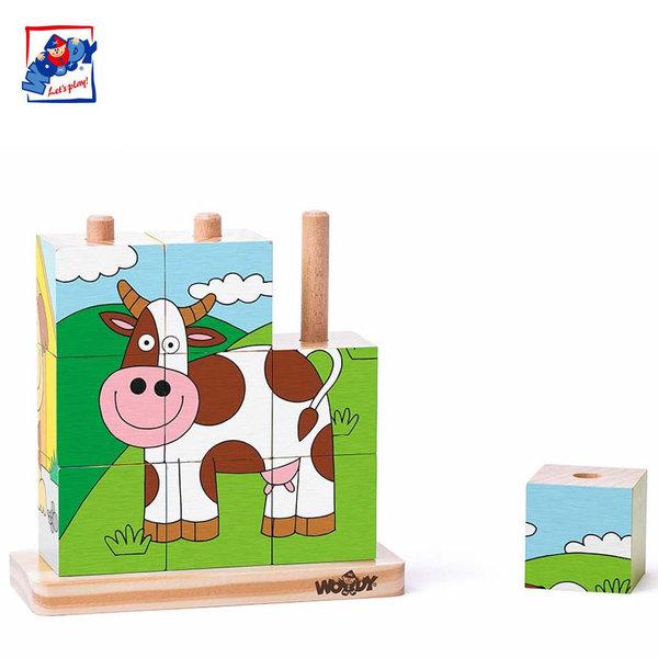 Woody Дървени кубчета низанки Домашни животни 93055
