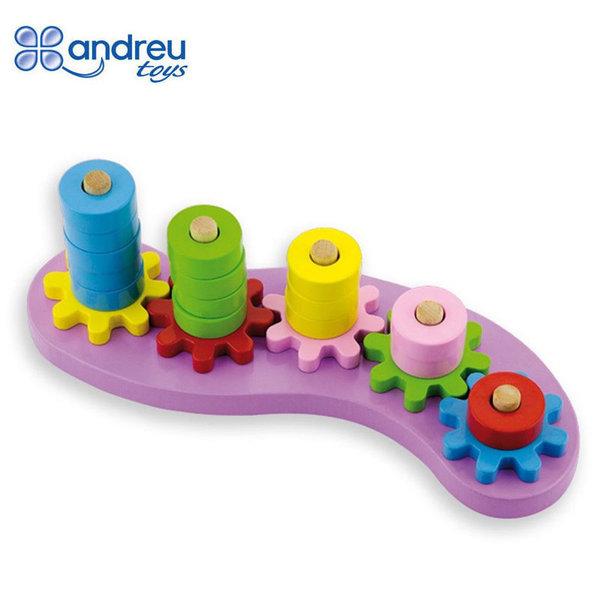 Andreu Toys Дървена низанка със зъбни колела цветове и форми 16401
