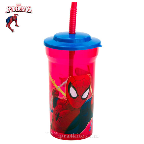 Spiderman Детска чаша със сламка Спайдермен 14572
