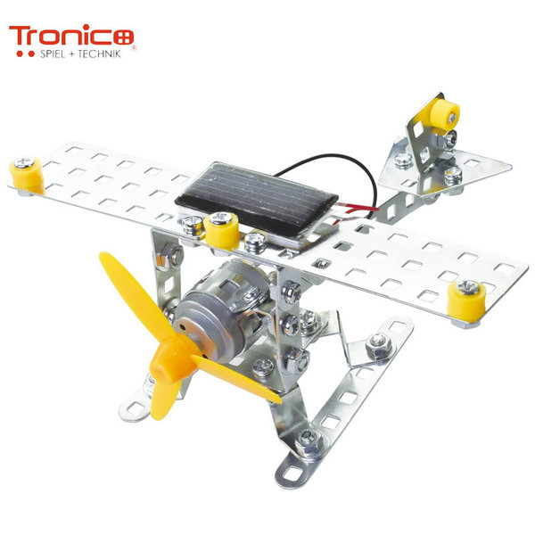 Tronico Детски метален конструктор със соларна батерия Самолет Silver 9735
