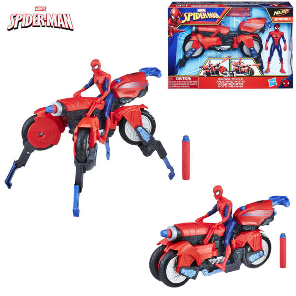Hasbro SpiderMan Екшън фигура Спайдърмен с мотор 3в1 E0593