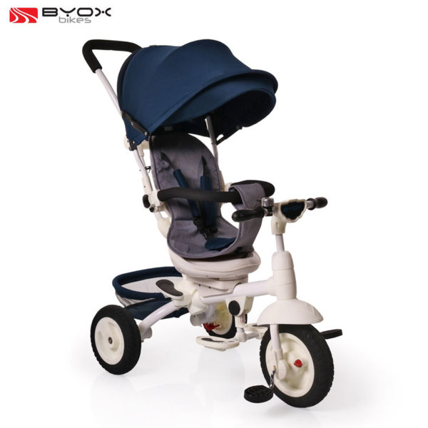 Byox Bikes Триколка със сенник и родителски контрол QUEEN Тъмно синя 106587
