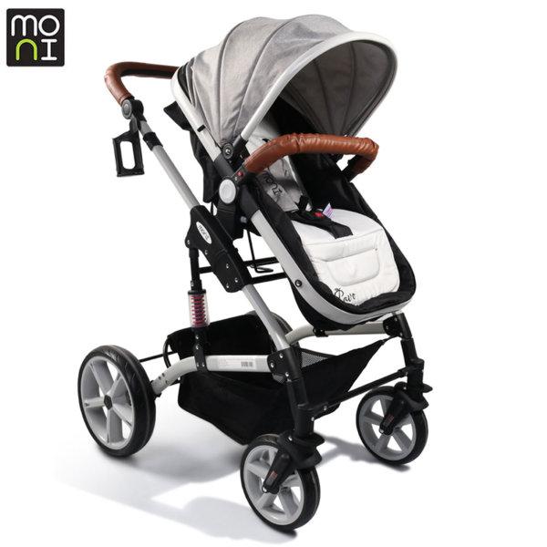 Moni Комбинирана детска количка Pavo сива / кожа 106885
