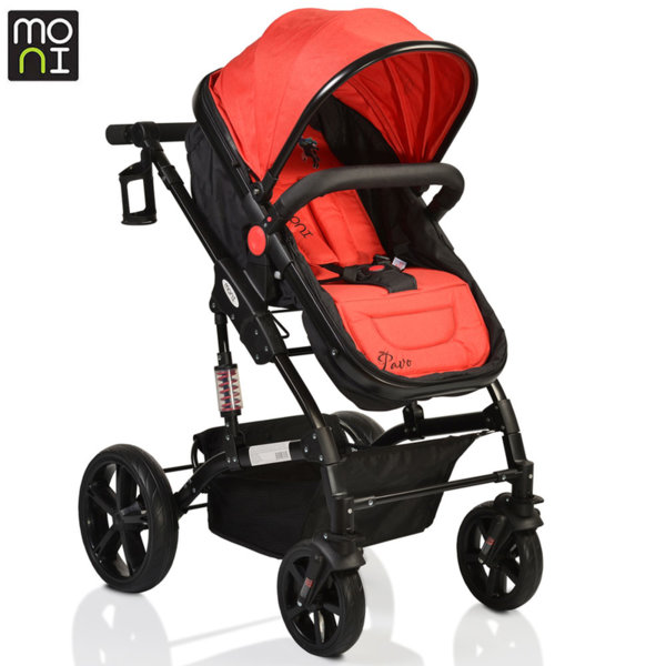 Moni Комбинирана детска количка Pavo червена 106385