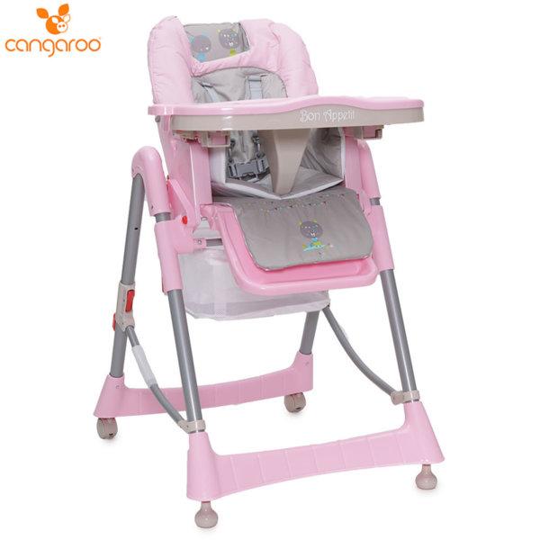 Cangaroo Детски стол за хранене Bon Appetit розов 103686