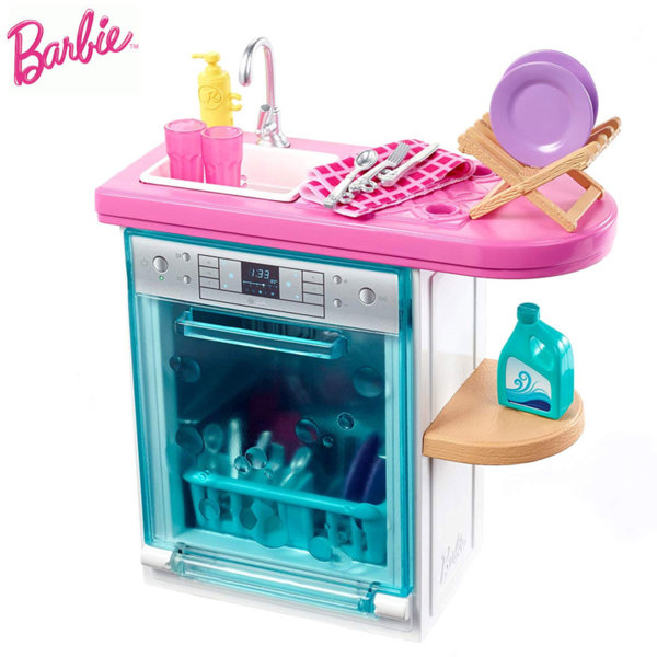 Barbie Мебели за кукла Барби Кухня със съдомиялна машина FXG35