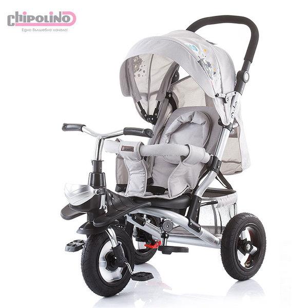 Chipolino Триколка със сенник, родителски контрол, помпащи гуми Полар сива TRKPO0193LG