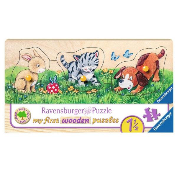 Ravensburger Дървен пъзел Сладки бебета животни 03203