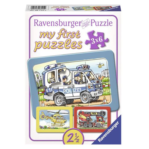 Ravensburger Детски пъзел 3в1 Пожарна, полиция и спасителен хеликоптер 06115