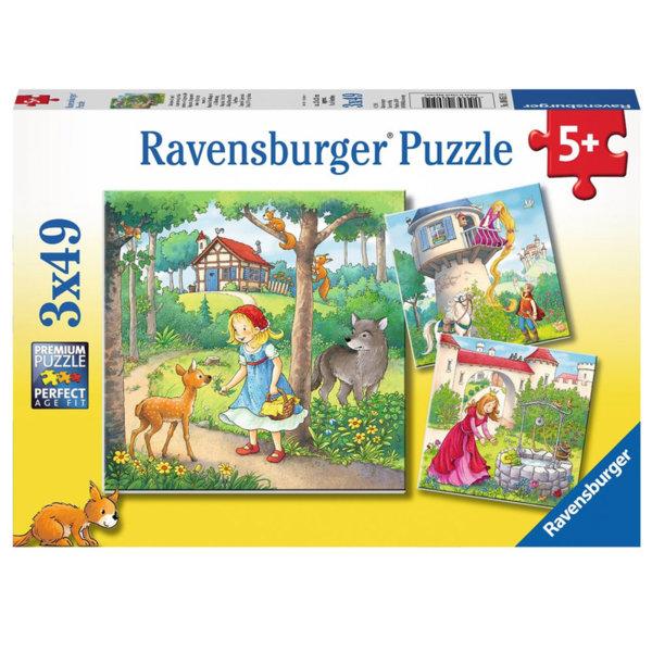 Ravensburger Детски пъзел 5+ Червената шапчица, Рапунцел, Принцесата и жабока 3x49 08051