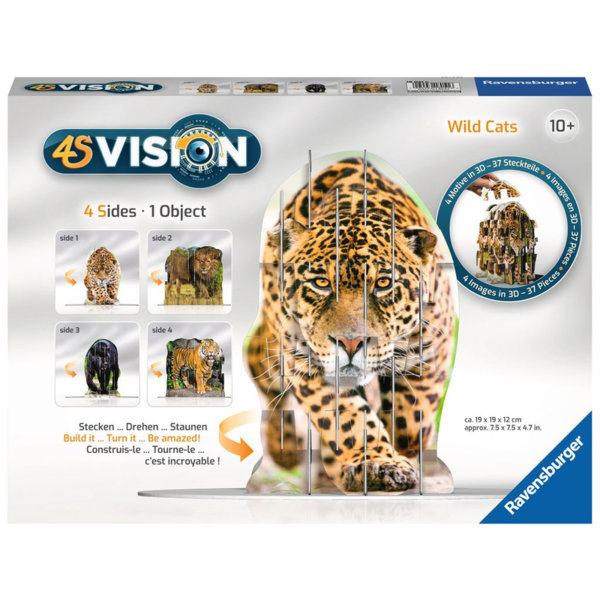 Ravensburger Детски пъзел 4S Vision Диви котки 18051