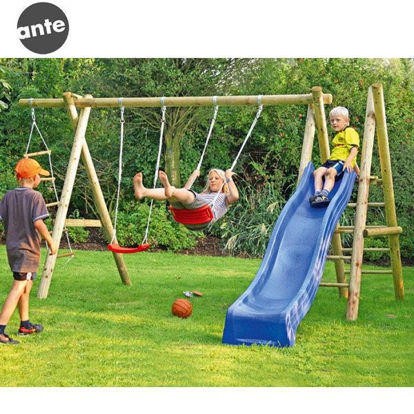 Ante Детска дървена люлка за две деца с катерушка и въжена стълба 205814