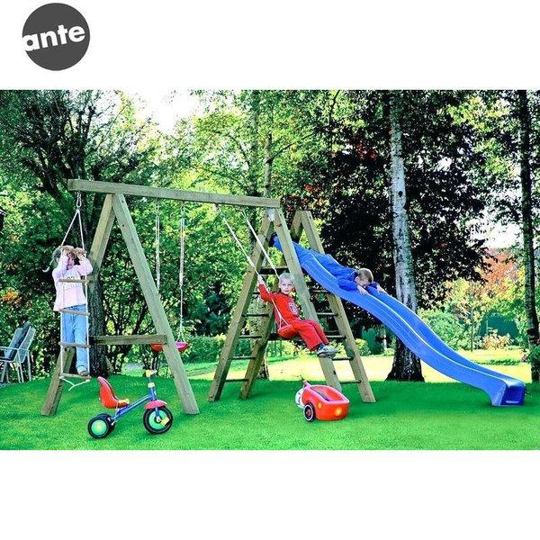 Ante Детска дървена люлка за две деца с катерушка и въжена стълба 211014