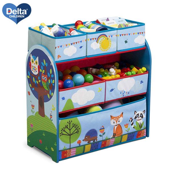 Delta Children Дървена етажерка с 6 кутии Woodland tb83402wt