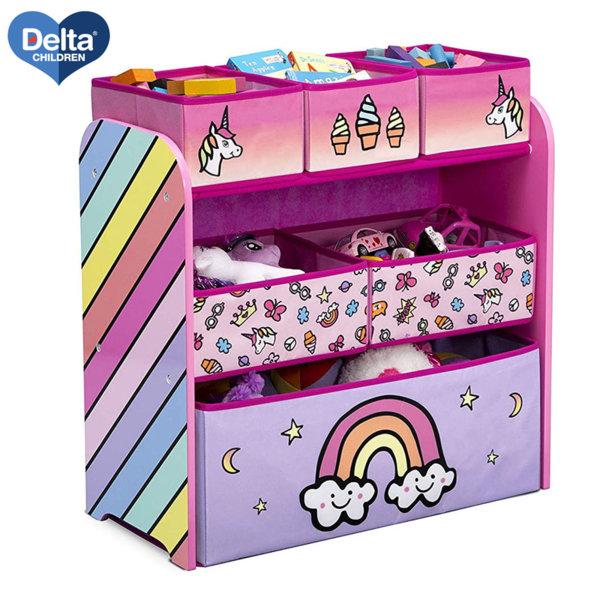 Delta Children Дървена етажерка с 6 кутии Rainbow tb83402wt