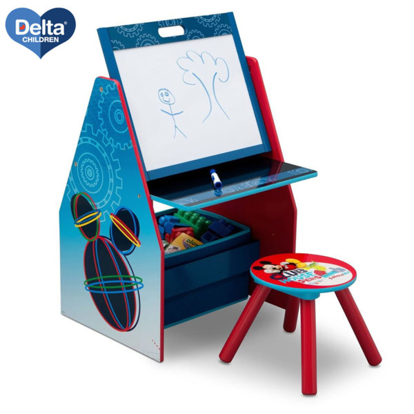 Delta Children Детски чин със столче и поставка за книги 3в1 Disney Мики Маус te87598mm