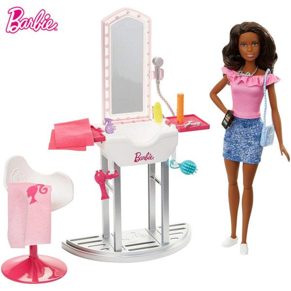 Barbie Кукла Барби брюнетка фризьорски салон DVX51