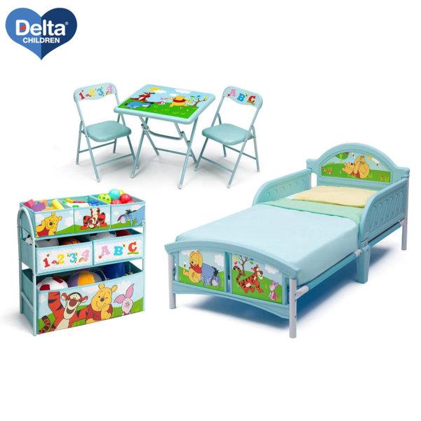 Delta Children Комплект детско легло, маса със столчета и етажерка Disney Мечо Пух 99455wp