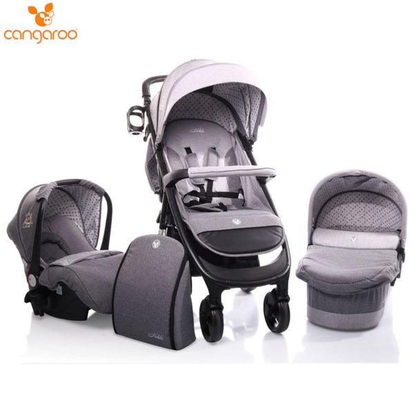 Cangaroo Комбинирана детска количка Noble 3в1 сива 106506