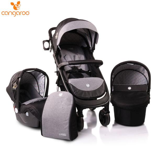 Cangaroo Комбинирана детска количка Noble 3в1 черна 106623