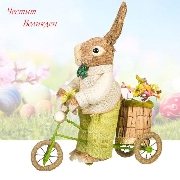 Великденска украса Великденско зайче с колело 135942