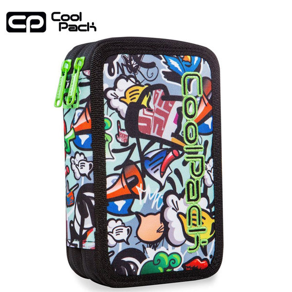 Cool Pack Jumper Ученически несесер 2 ципа зареден Graffiti A66201