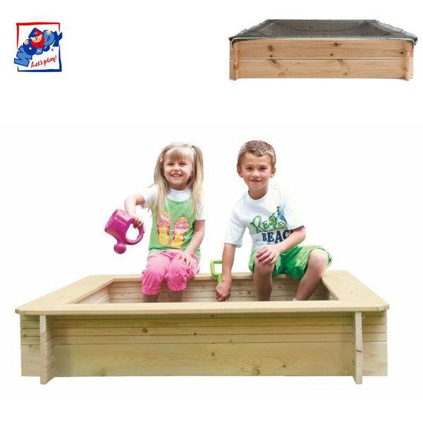 Woody Детски дървен пясъчник с покривало 10313