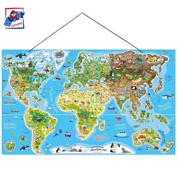 Woody Дървен магнитен пъзел Карта на света 2в1 91290