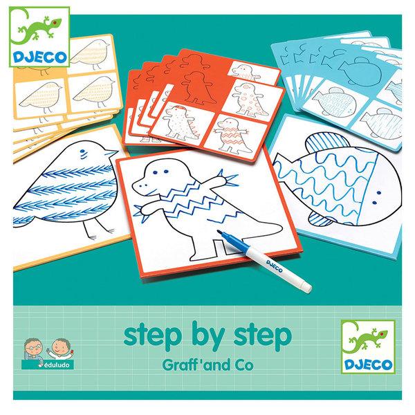 Djeco Нарисувай стъпка по стъпка животни Graff & Co DJ08324