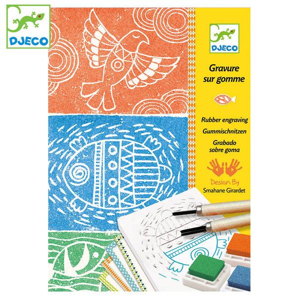 Djeco Комплект за линогравюра Native american design DJ08614