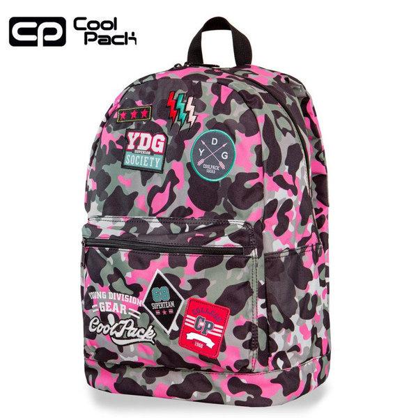 21bc5747382 Cool Pack Cross Ученическа раница Camo Pink badges A26112