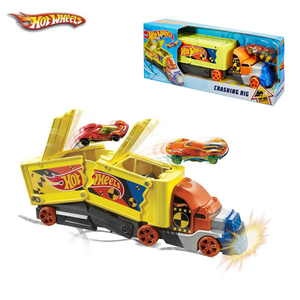 Hot Wheels Камион с количка Crashing Big Rigs GCK39