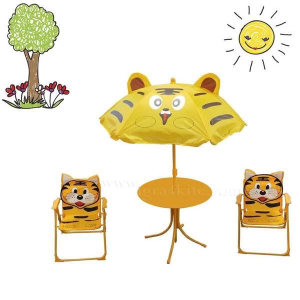 Градинска маса със столчета и чадър Тигърче 106219