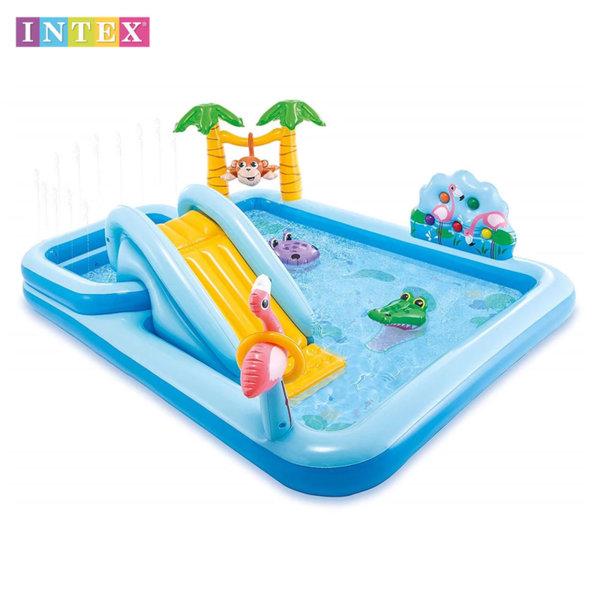 Intex Надуваем център за игра с пързалка Приключения в джунглата 57161