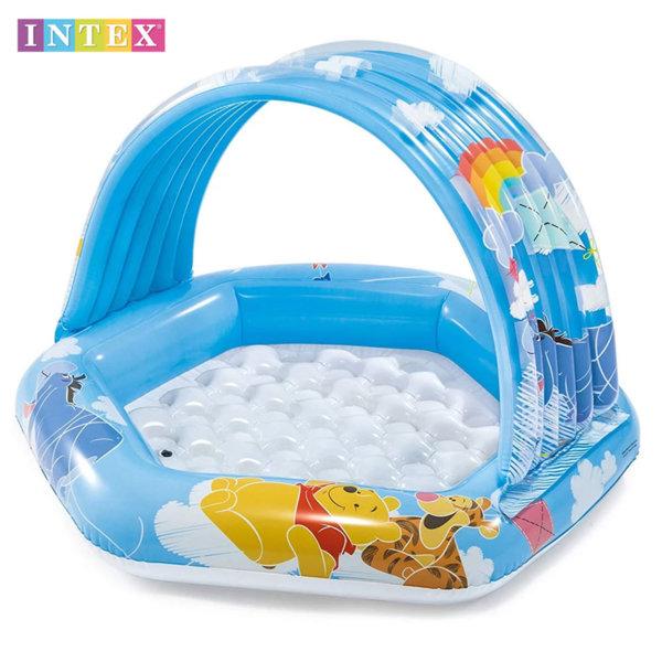Intex Бебешки надуваем басейн със сенник и надуваемо дъно Мечо Пух 58415