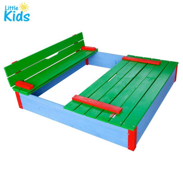 Детски дървен пясъчник с пейки-капак 193315