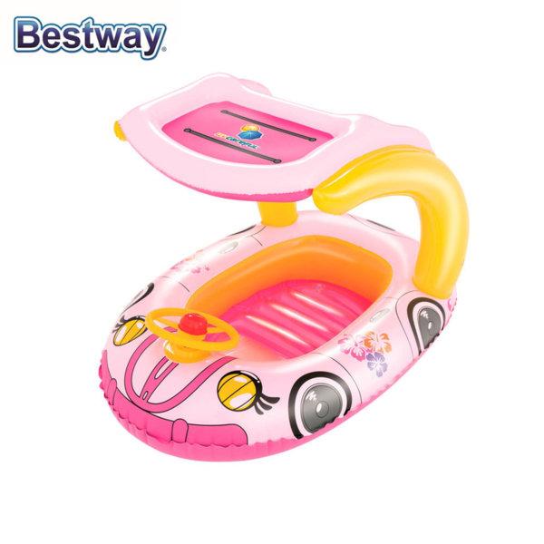 Bestway Детска надуваема лодка със сенник 50+ UPF розова 34103