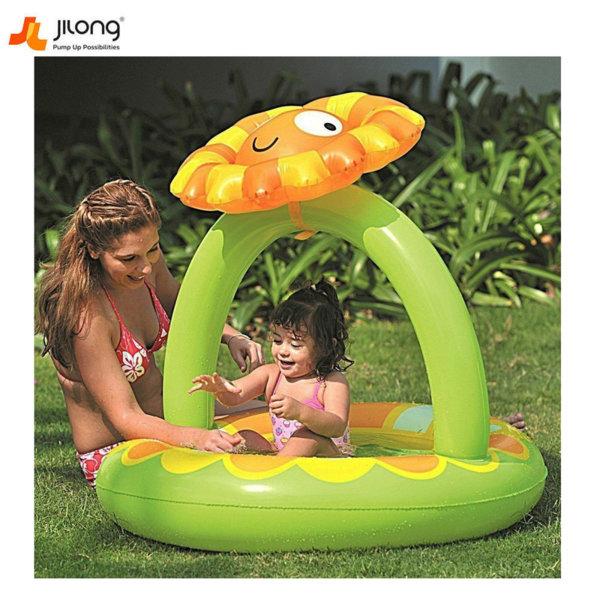 Jilong Бебешки надуваем басейн със сенник и надуваемо дъно Цвете 17390