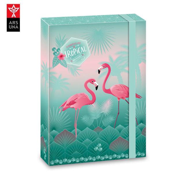 Ars Una Pink Flamingo Папка кутия с ластик A4 Ars Una 90858680