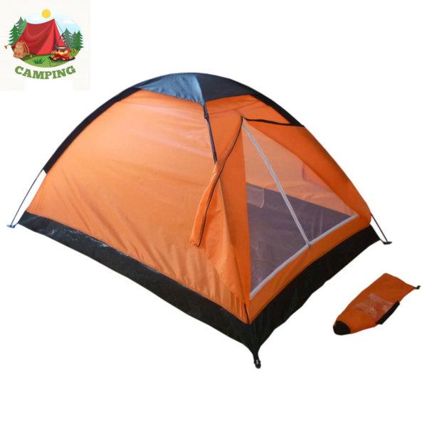 Двуместна палатка за къмпинг оранжева 74719